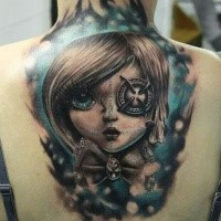 New school style colored back tattoo of fantasy woman with eye badge