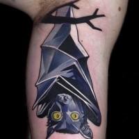 New school style colored biceps tattoo of big bat