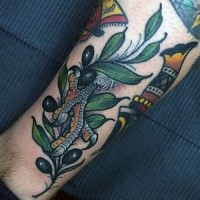 New school style colored birds leg with olive tree