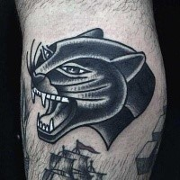 New school style colored black panther tattoo on leg