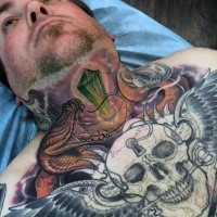 New school style colored chest tattoo of big snake with diamond