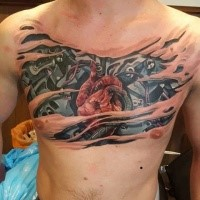 New school style colored chest tattoo of biomechanical heart