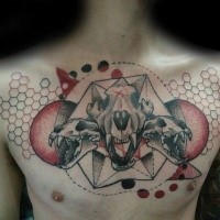 New school style colored chest tattoo of animal skulls with geometrical ornaments