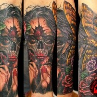 New school style colored evil monster woman with butterfly and flowers tattoo