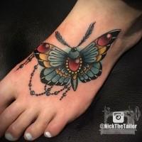 Neue Schule Stil farbiges Fuß Tattoo mit Schmetterling