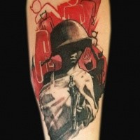 New school style colored forearm tattoo of woman with helmet and gun