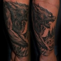 new school style colored forearm tattoo of evil werewolf in forest