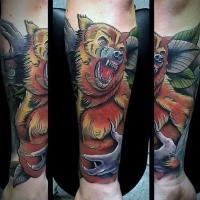 New school style colored forearm tattoo of angry werewolf stylized with leaves