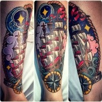 New school style colored forearm tattoo of sailing ship with night sky and moon