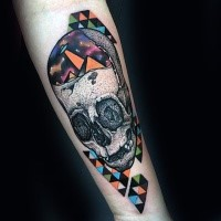 New school style colored forearm tattoo of skull with various ornaments and alien ship