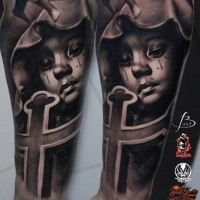 New school style colored forearm tattoo of crying girl in hood with cross