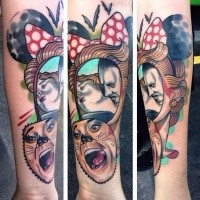 New school style colored forearm tattoo of creepy cat woman face with bats and vampire