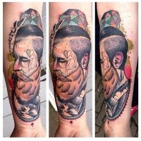 New school style colored forearm tattoo of man with beard and bird
