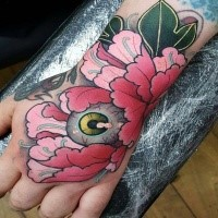 New school style colored hand tattoo of beautiful flower with eye
