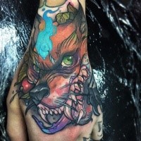 New school style colored hand tattoo of creepy evil monster