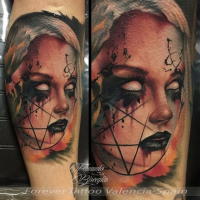 New school style colored leg tattoo of creepy demonic woman with devils star