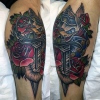 New school style colored leg tattoo of evil duck with  flowers