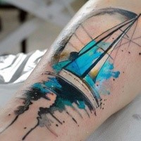 New school style colored leg tattoo of modern sailing ship