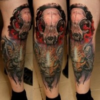 New school style colored leg tattoo of big devil with cat skull