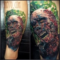New school style colored leg tattoo of evil zombie