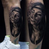 New school style colored leg tattoo of smoking sexy woman with bandage