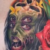 New school style colored monster zombie woman face tattoo stylized with flowers