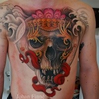 New school style colored mystical human skull with red ribbon tattoo on chest