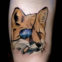 New school style colored pirate smoking fox tattoo on arm