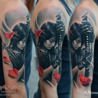 New school style colored shoulder tattoo of Asian woman warrior with sword