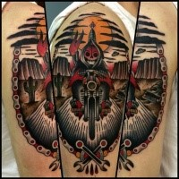 New school style colored shoulder tattoo of grim reaper on bike