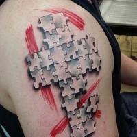 Neue Schule Stil farbiges Schulter Tattoo mit Puzzle Kreuz und roten Linien