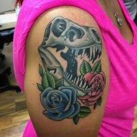 New school style colored shoulder tattoo of dinosaur skull and roses