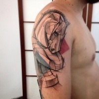 New school style colored shoulder tattoo of big horse