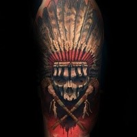 New school style colored shoulder tattoo of tribal skull with helmet and crossed bones