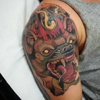 New school style colored shoulder tattoo of demonic bat face with smoke