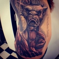 New school style colored side tattoo of creepy devil