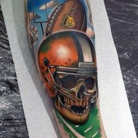 New school style colored tattoo of American football player skull