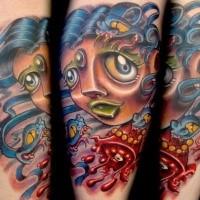 Neue Schule Stil farbiges Tattoo mit blutiger Frau undSchlange