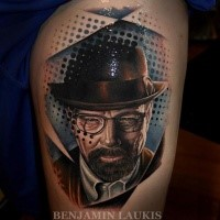 New school style colored tattoo of Breaking Bad movie hero portrait