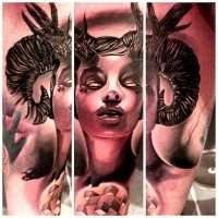 New school style colored tattoo of devil woman portrait