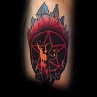 New school style colored tattoo of devils star and fallen human