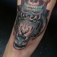 New school style colored tattoo of evil tiger
