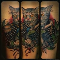 New school style colored tattoo of fantasy cat with soldiers suit and bird