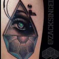 New school style colored tattoo of human eye and various figures