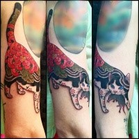 New school style colored tattoo of Manmon cat with samurai sword