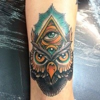 New school style colored tattoo of mystical owl with pyramid and eye