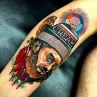 New school style colored tattoo of old man with hat and bird
