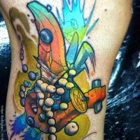 New school style colored tattoo of tribal totem