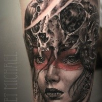 New school style colored tattoo of tribal woman with animal skull and flower