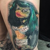 New school style colored thigh tattoo of lizard woman
